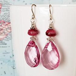 Susie Pink Crystal and Sterling Earrings