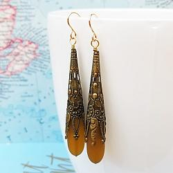 Smoky Topaz Call Me Vintage Brass and Seaglass Earrings