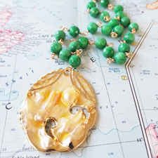 Venus Blister Pearl and Chrysoprase Statement Necklace